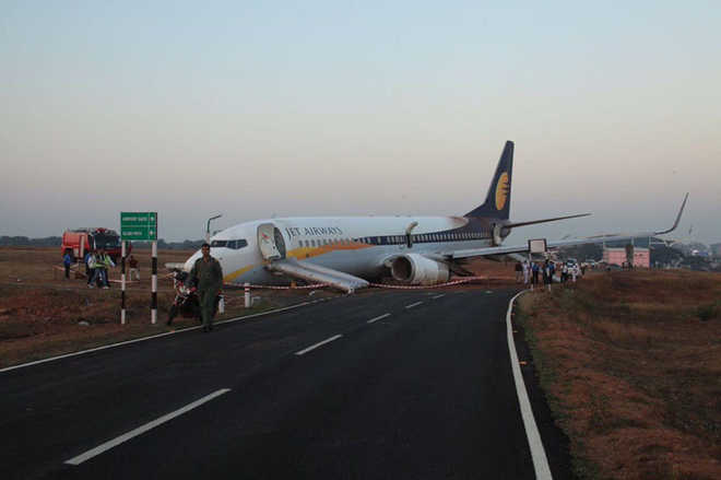 A Jet Airways aircraft is seen after it skidded off the runway before takeoff at an airport in Goa