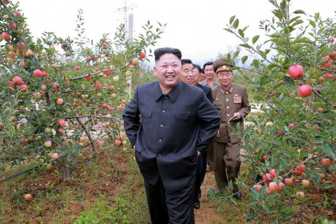 North Korean leader Kim Jong Un gives field guidance to the Kosan Combined Fruit Farm in this undated photo released by North Korea's Korean Central News Agency (KCNA) in Pyongyang