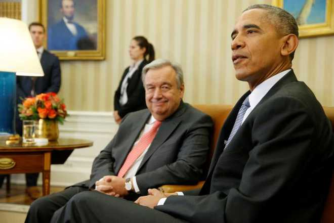 Obama delivers remarks to reporters as he welcomes Guterres in the Oval Office at the White House in Washington